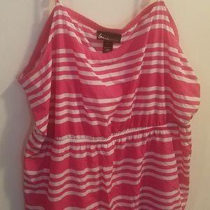 Lane Bryant Pink and White Striped Dress